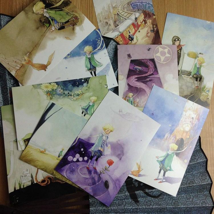 10 Little Prince Patrón pintado a mano The Ryhthm Of Life Juego de libros de postales / Tarjetas de felicitación surtidas / Tarjetas de cumpleaños