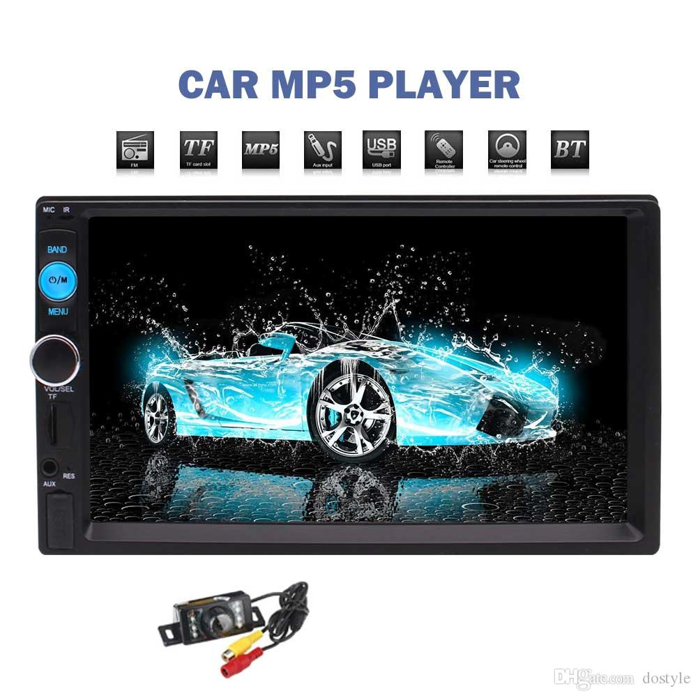 "2din Car radio Stereo 7"" TouchScreen Car MP5 Player In Dash HeadUnit Bluetooth hands free FM/TF/USB/SWC/AUX/Video RearView Camera"