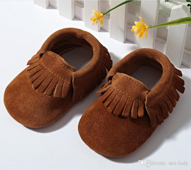 Genuine Leather Baby Moccasins Cow Leather Double Colors Tassels Solid Fringe First Walking Shoes Soft Sole Infant Toddler Shoes