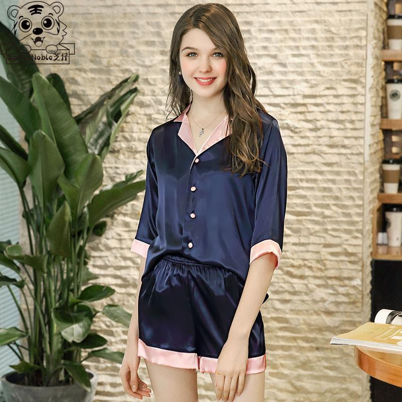 de7d7c0de6 Compre Pijamas Para Mujer Pijamas Conjunto Camisón De Seda Ropa De Dormir Para  Mujer Homewear Blusas Y Blusas Pantalones Cortos De Satén Harajuku Kawaii  ...