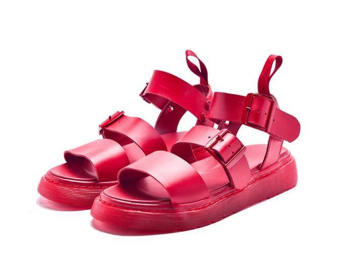 2018 Moda Planos Nueva Sandalias Casuales Gladiador De Mujer Creepers Pisos Playa Zapatos Rojo wON0v8mn