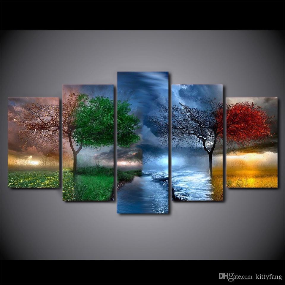 Acquista 5 Pz HD Prints Fantasy Nature 4 Stagioni Albero