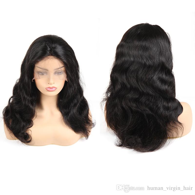 Free Shipping Malaysian Body Wave Lace Front Wigs 100% Unprocessed Indian Straight 360 Full Lace Human Hair Wigs For White Man Extensions