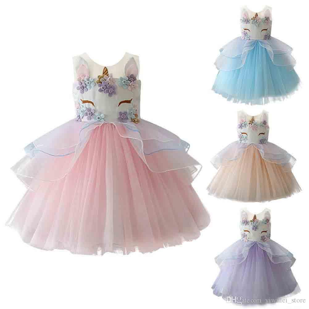 Lovely Baby Girl Unicorn Dress Fashion Embroidery Flower Princess Tutu Pink 0 2th Dresses Cute Birthday Kids Party Wedding Pettiskirt 2018 New