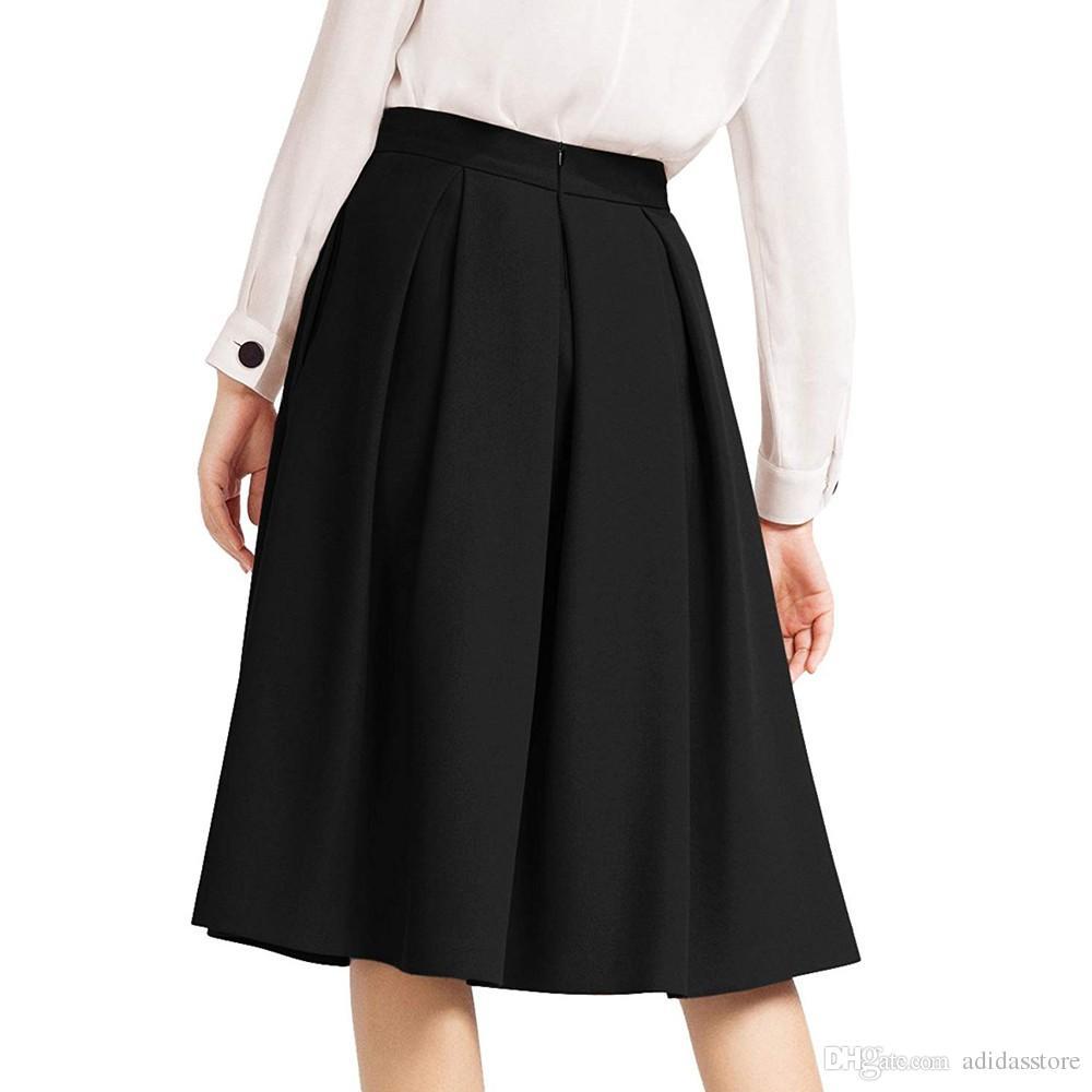 Faldas Femme Jupe Noir Élégant Évasées Mode Mujer Moda Haute Genou Longueur Taille Dames Jupes Plis Femmes T1ulFJ3Kc