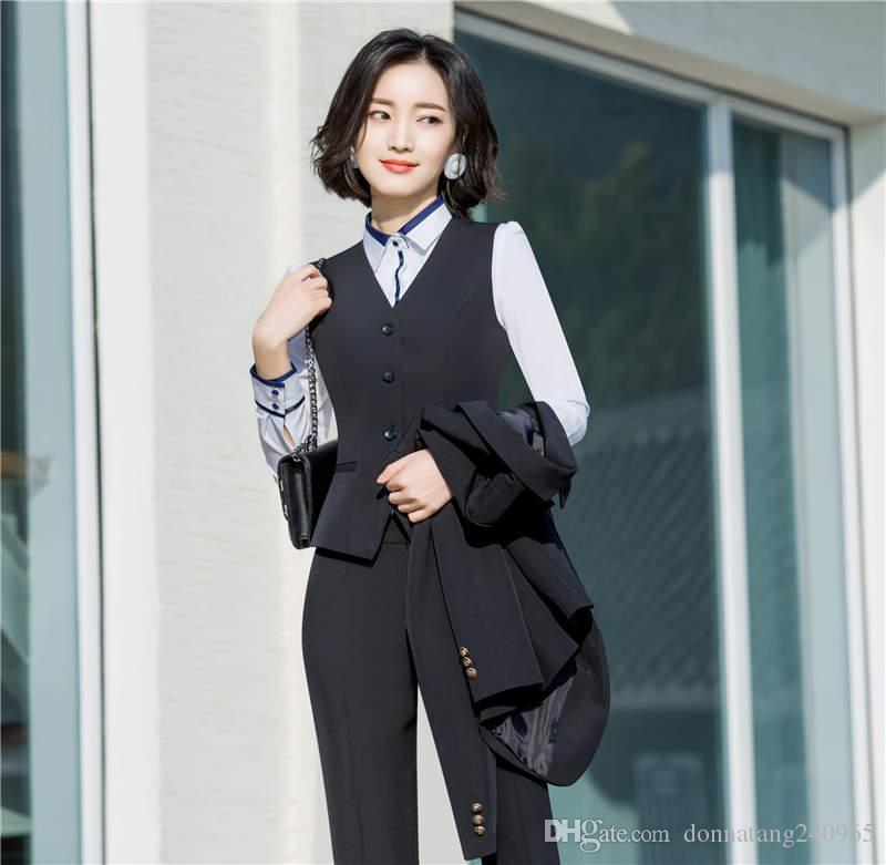 Compre Trajes De Mujer Profesional Conjuntos De Tres Piezas Traje De Mujer  De Negocios Blazer + Pantalones   Falda + Chaleco Azul Negro Color Sólido  OL DHL ... c7b940b5cd83