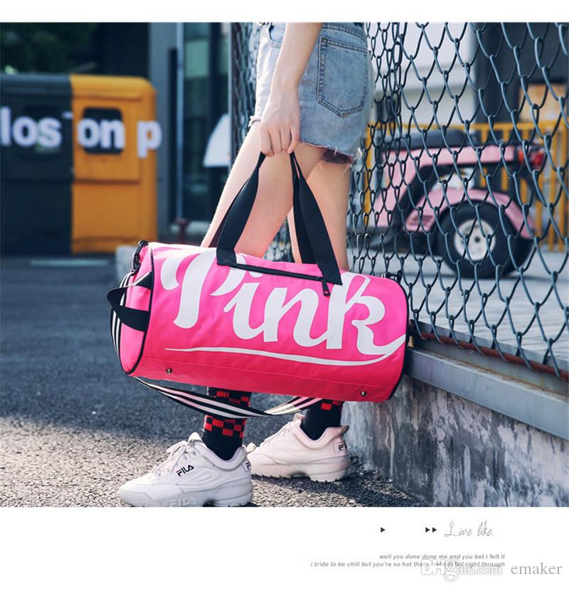 1d6d05d4393f Love Pink Letter Duffle Travel Bags For Women Girls Sports Gym Yoga Carry  On Luggage Large Capacity Waterpproof Durable Tote Shoulder Bags Clear Cell  Phone ...
