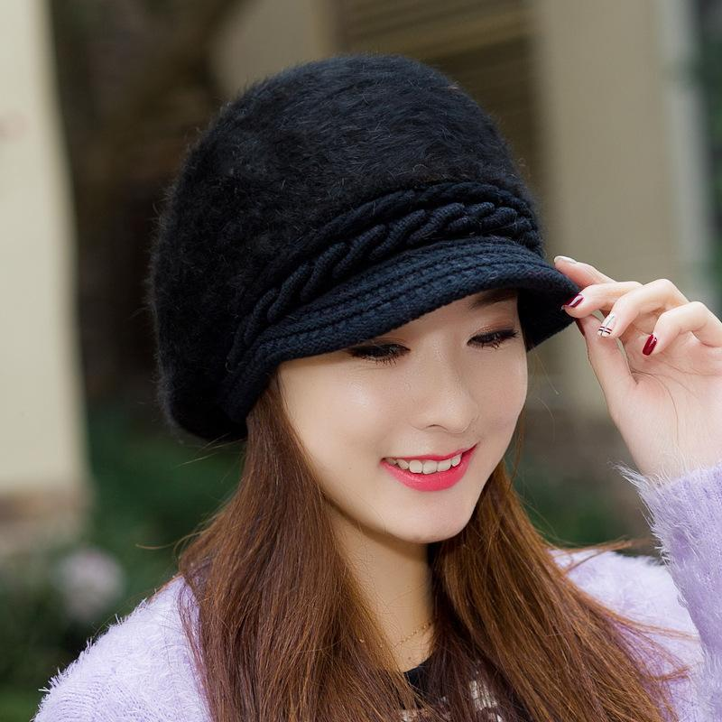 e1fafb9af28 2019 Winter Fashion Women S Rabbit Beret Hat Classic Artist Berets Cap  Stylish Painter Girls Hats Female Bonnet Solid Cap From Homejewelry