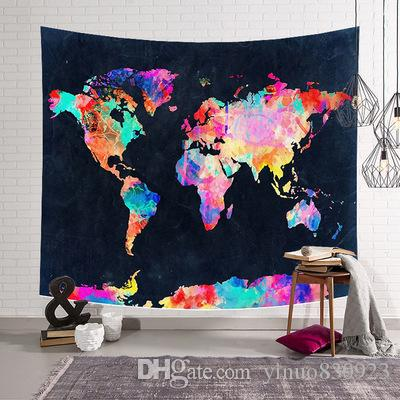 New D World Map Galaxy Polyester Wall Tapestry Home Living Decor - 3d world map wall art