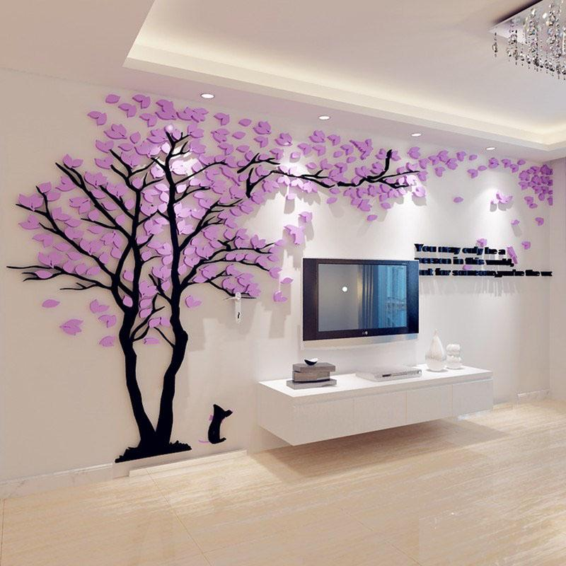 Home Decor Acrylic Creative Couple Tree 3D Sticker Stereo Wall Stickers TV Backdrop Sofa Poster Decoration Accessories Removable
