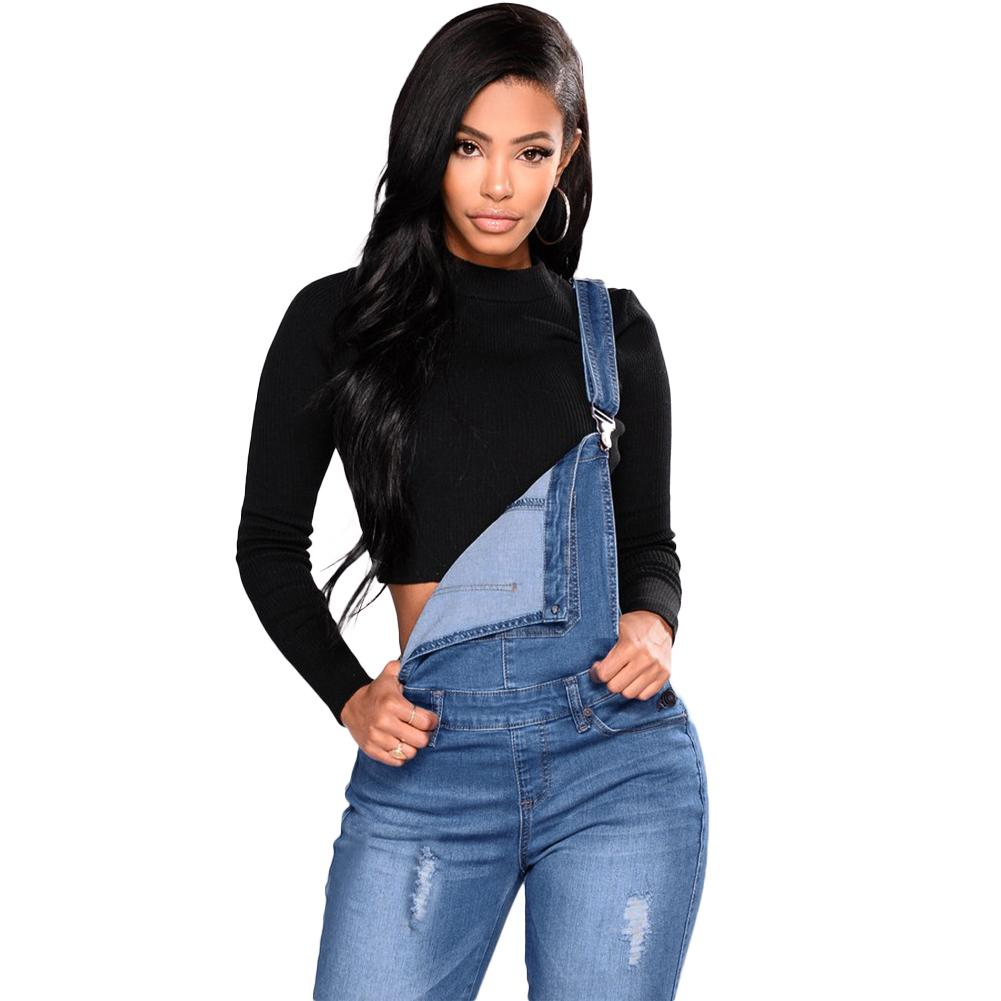 c219e421295b 2018 New Women Denim Overalls Ripped Stretch Dungarees High Waist Long Jeans  Pencil Pants Rompers Jumpsuit Blue Jeans Jumpsuits Jumpsuit Online with ...