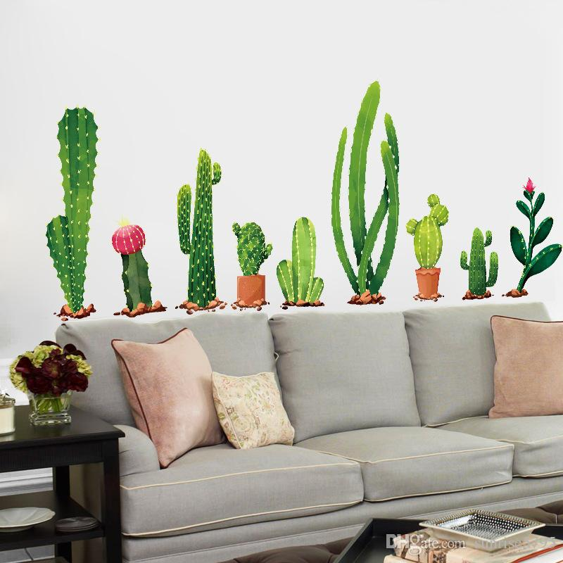 green cactus decal fridge furniture stickers pot plant wall poster waist line border mural modern room accessories