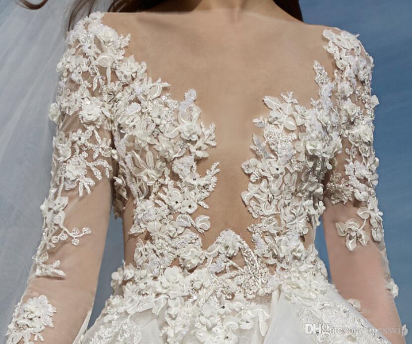 2018 Tony Ward Vestidos de boda de manga larga Illusion Lace 3D Floral Apliques Granos Vestidos de novia de playa Una línea Longitud del piso más tamaño nupcial