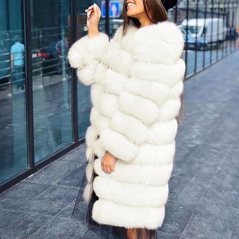 Silber Graue Faux Fur Rundhals Langarm Dicker Oversize Winter Kunstfell Pelzmantel Felljacke Damen