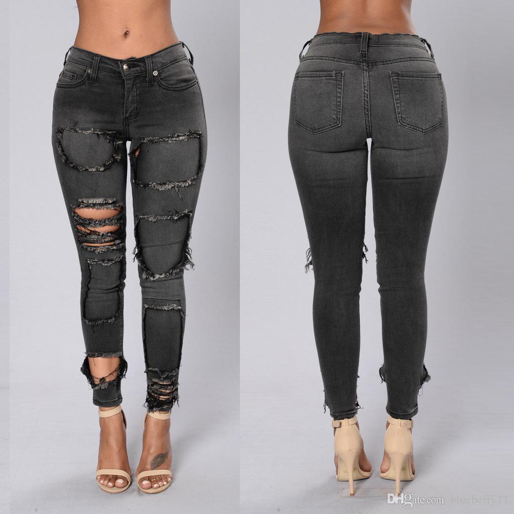 grosshandel schwarze frauen skinny zerrissene jeans low rise vintage mode slim fit distressed loch denim jeans s 2xl von blueberry11 42 22 auf de dhgate