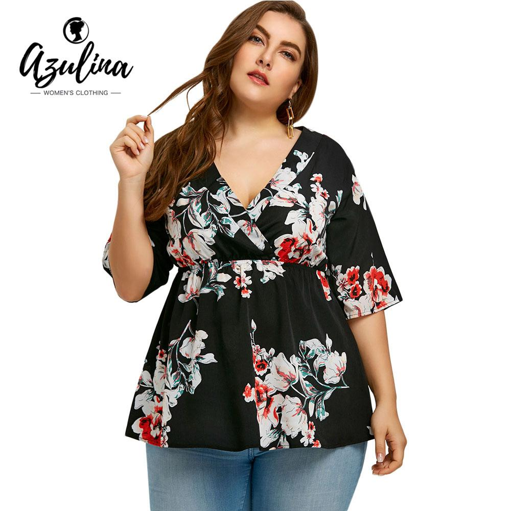 1b9dbf5f483 2019 AZULINA Plus Size Floral Print Tunic Blouse Women Tops Casual V Neck  3/4 Sleeves High Waist Blouses Shirts Big Size 5XL Clothes From Beke, ...