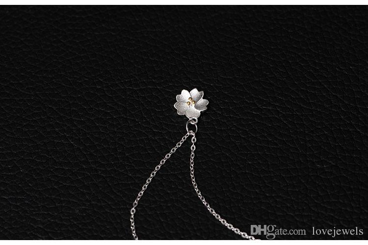 Charms 925 sterling silver pendant necklace Small Cherry Blossom Necklace chain Fashion sets jewelry valentines day gift women China Direct