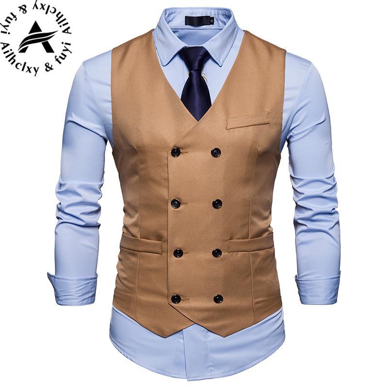 2019 2018Fashion Suit Vest Men Hot Sale Top Design Formal Dress Vest Brand  Clothing Quality Fitness Sleeveless Jacket Waistcoat Men From Sikaku ef7f2d9afb6e