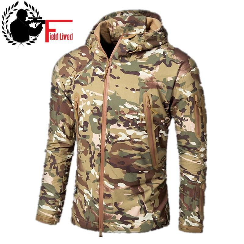 e3aa6e59f97ff CAMOUFLAGE JACKET MEN 2016 Army Style Tactical Soft Shell Warm Fleece Waterproof  Coat Male CAMO Shark Skin Outdoors Down Jackets Summer Jackets From ...