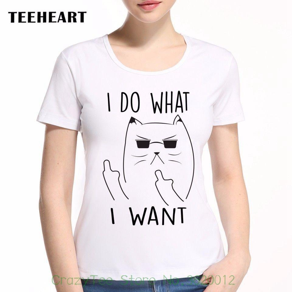995cb0e3 Women's Tee I Do What I Want Cat Middle Finger Up Both Hands Funny Joke  Women T Shirt Tee Pinted T Shirt Cool