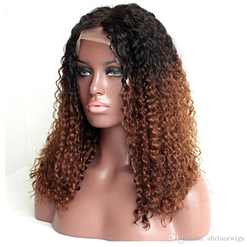 Dark Roots 1B/30# Ombre Brown Kinky Curly Lace Front Wigs Heat Resistant Glueless Synthetic Lace Front Wigs for Black Women