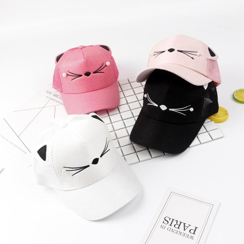 6a9b0d5bb 1pc Child Cute Cat Baseball Caps Summer Messy Bun Mesh Hats Casual  Adjustable Hats Shimmer Ponytail Sport Caps for Kids 2018