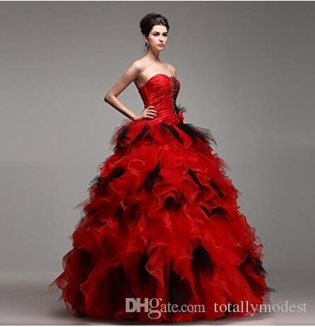 Red and Black Ball Gown Wedding Dress In colors Beaded Crystals Ruffles Skirt Princess Corset Back Non White Bridal Gowns Online Custom Mad