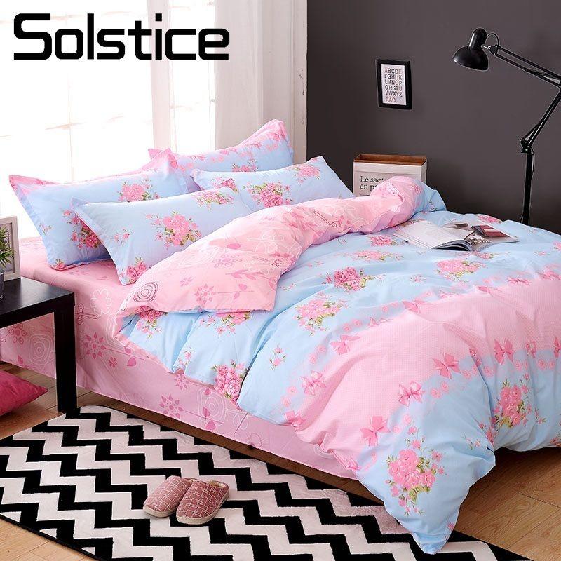 Solstice Home Textile King Queen Twin Bedding Set Girl Teen Adult Woman  Linens Suit Pink Flower Bed Sheet Duvet Cover Pillowcase Funky Duvet Covers  Velvet ...