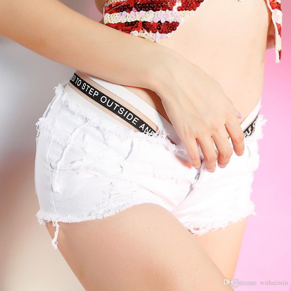 Pantalones cortos de mezclilla Sexy Mujeres Summer Beach Hole Árbol comestible Tungus Edge Short Jeans Mini Shorts calientes