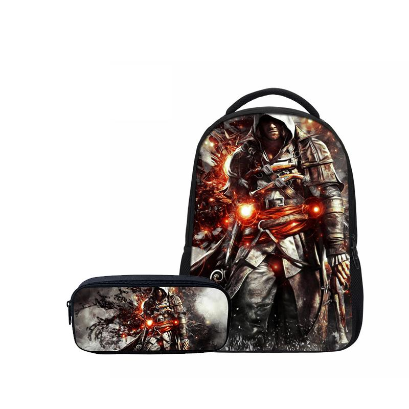 4d0ffafe755e Hynes Eagle Fashion   Set Boys Girls School Backpacks Pencil Case Cool  Assassins Creed Prints Children Casual Shoulder Bags Dog Backpack Backpacks  For Women ...