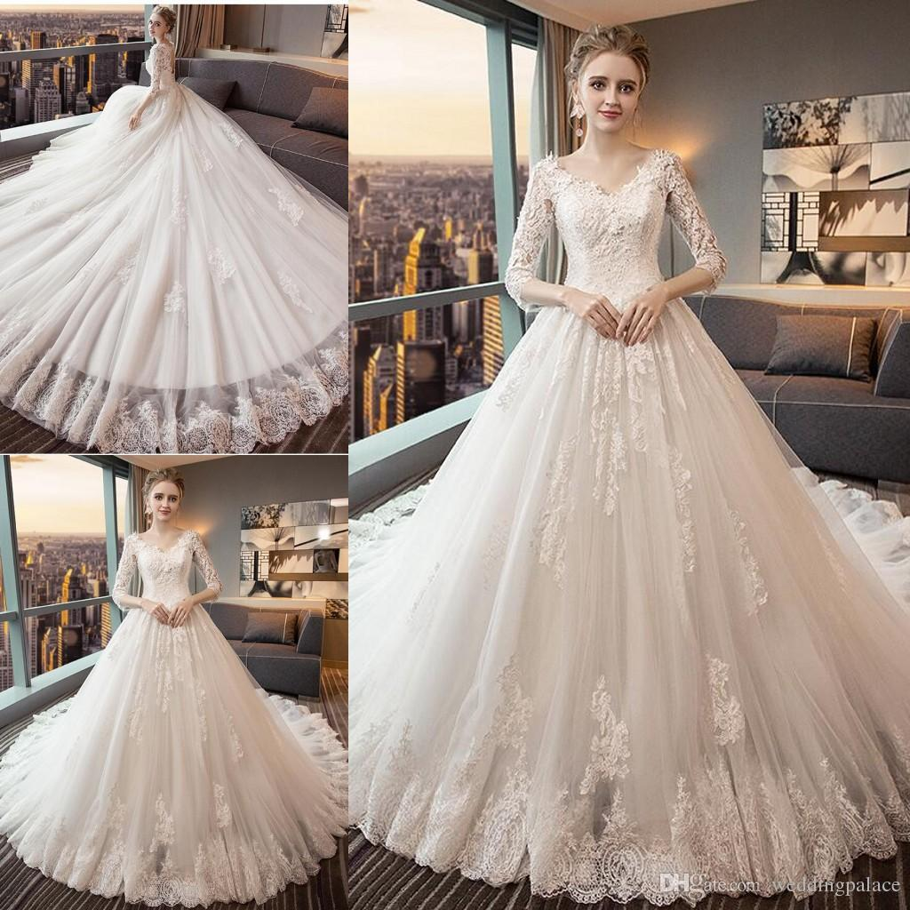 Sheer Lace Applique Long Sleeve Wedding Dress V Neck: Discount 2018 V Neck Lace Wedding Dresses 3/4 Long Sleeve