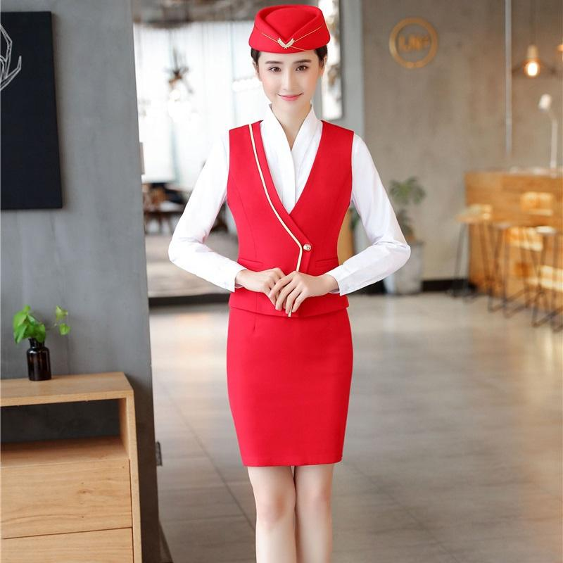 6ada72e3d0 2019 2018 Summer Formal Women Business Suits With Skirt And Tops Sets Red  Uniform Styles Vest   Waistcoat Office Ladies Work Wear From Blairi