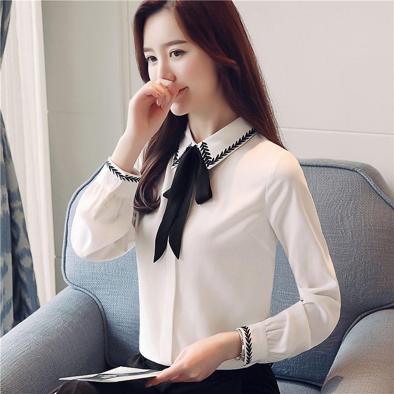 6db8871e94 Compre 2018 Nuevas Blusas Y Blusas Para Mujer Camisa De Chifón Elegante  Camisas Blancas OL Arco Bordado De Manga Larga Blusas A  13.07 Del  China ada ...