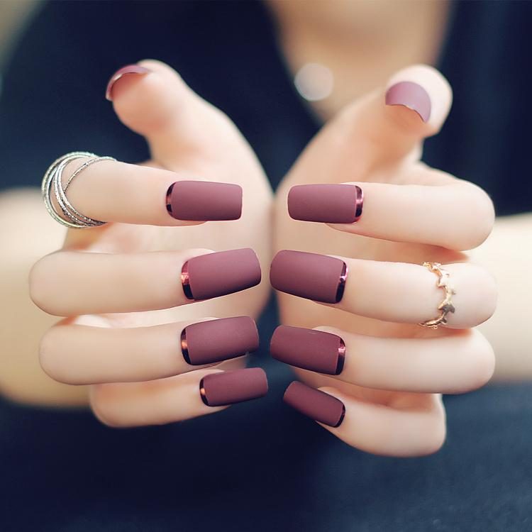 Elegant Fashion Matte False Nail Acrylic Full Nail Tips Art ...