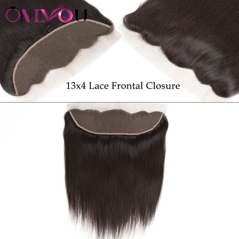 Onlyou Hair® 9a Brezilyalı Bakire Saç Düz Demetleri Ile Kapatma 100% Remy İnsan Saç Dokuma 3/4 Demetleri 13 * 4 Dantel Frontal Kapatma ile
