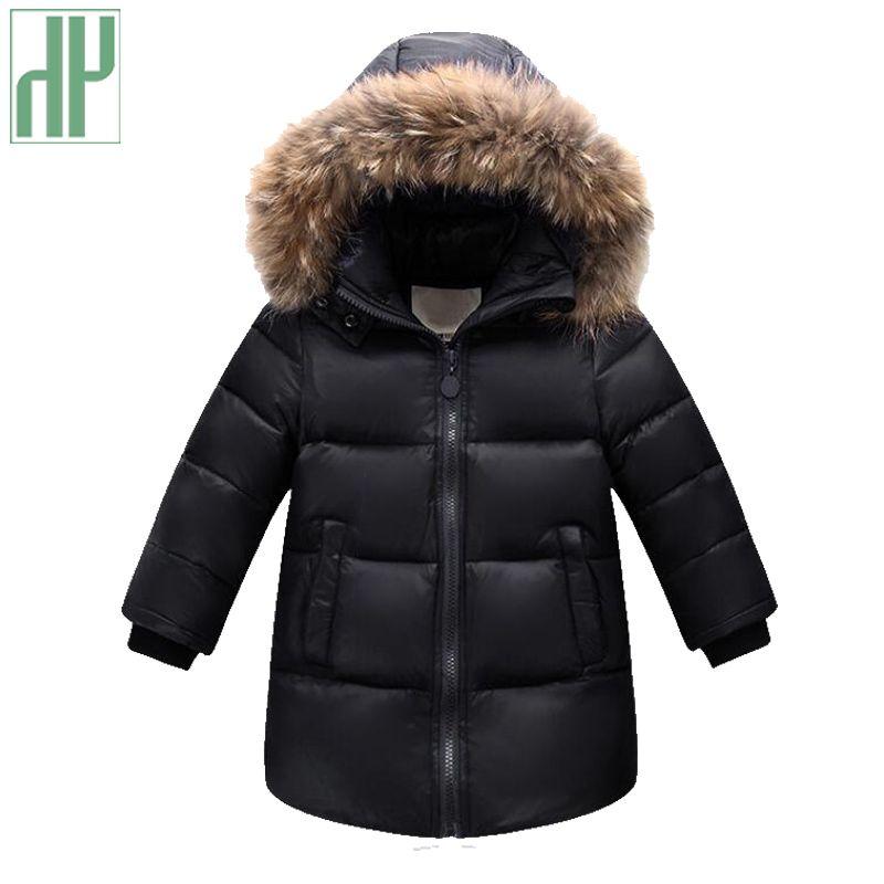 Russian winter snowsuits jackets for boys children's down jacket Outerwear kids parka fur duck down coats overalls clothing set