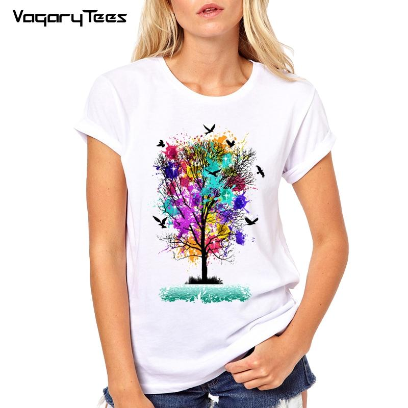 5ccec28f Women's Tee Colorful Hand - Painted Tree Women T Shirts Art Design Printed  T Shirt Short Sleeve O - Neck Novelty Casual Tops