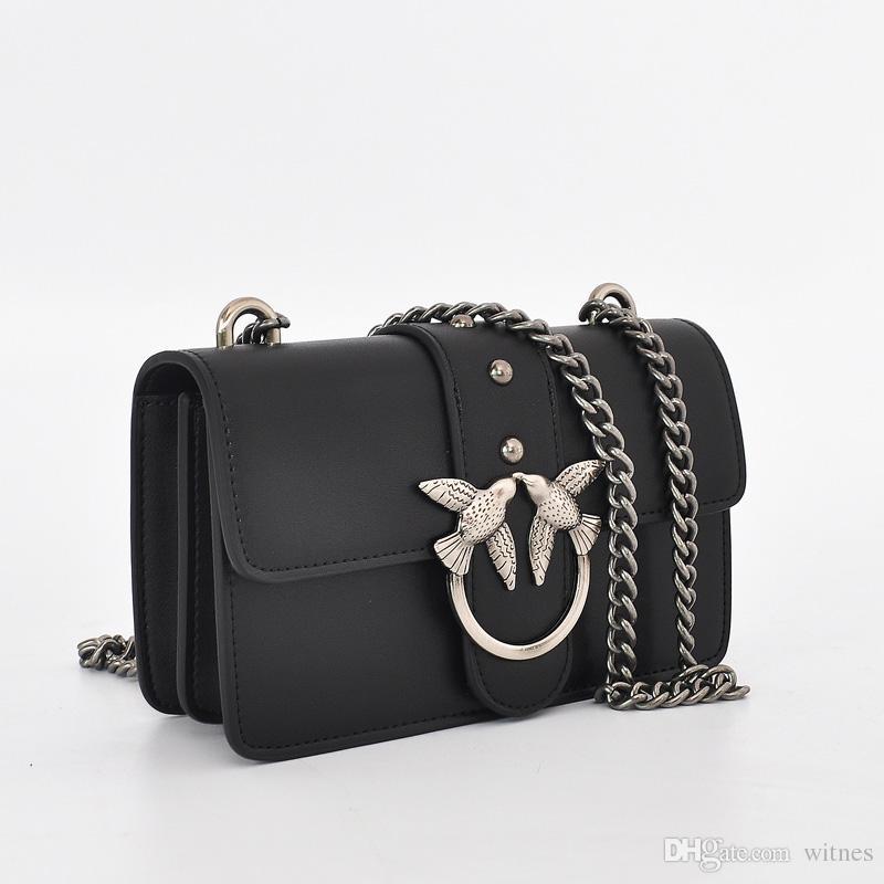 0728b4cc60644 Großhandel 2018 Echtes Leder Handtasche Frauen Umhängetasche Luxus Marke  Schwarz Farbe Umhängetaschen INS Stil Schwalben Chic Pinko Mode Von Witnes