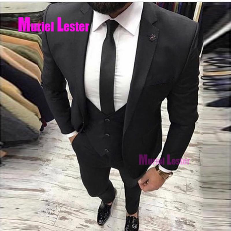 e74d960593 Compre Muriel Lester Trajes Para Caballero Traje De Hombre 3 Piezas Slim  Fit Trajes De Hombre Blanco Y Negro Trajes De Novio Personalizados Para  Hombre A ...
