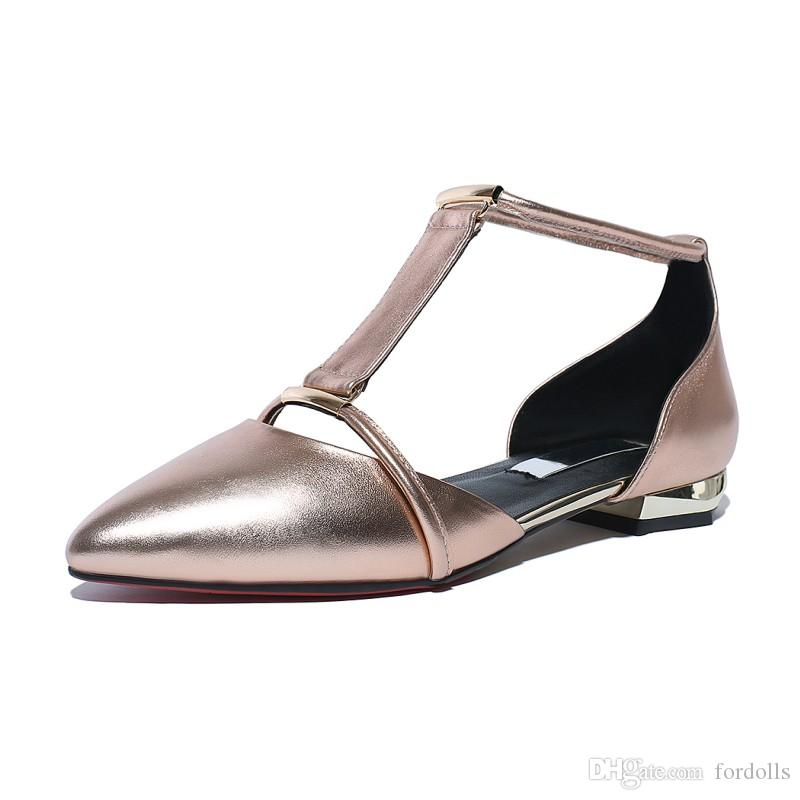dcdc1e16855 Women Block Heel Flat Sandals Pointy Toe Elegant Style Genuine ...