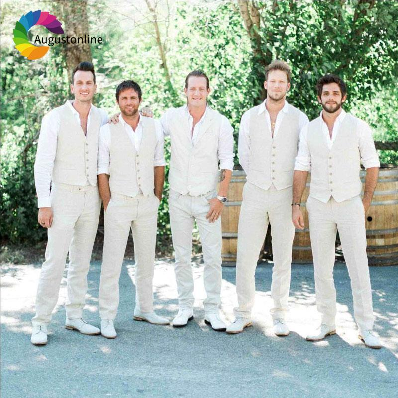 custom made beach wedding ivory linen men - mens beach wedding attire pictures