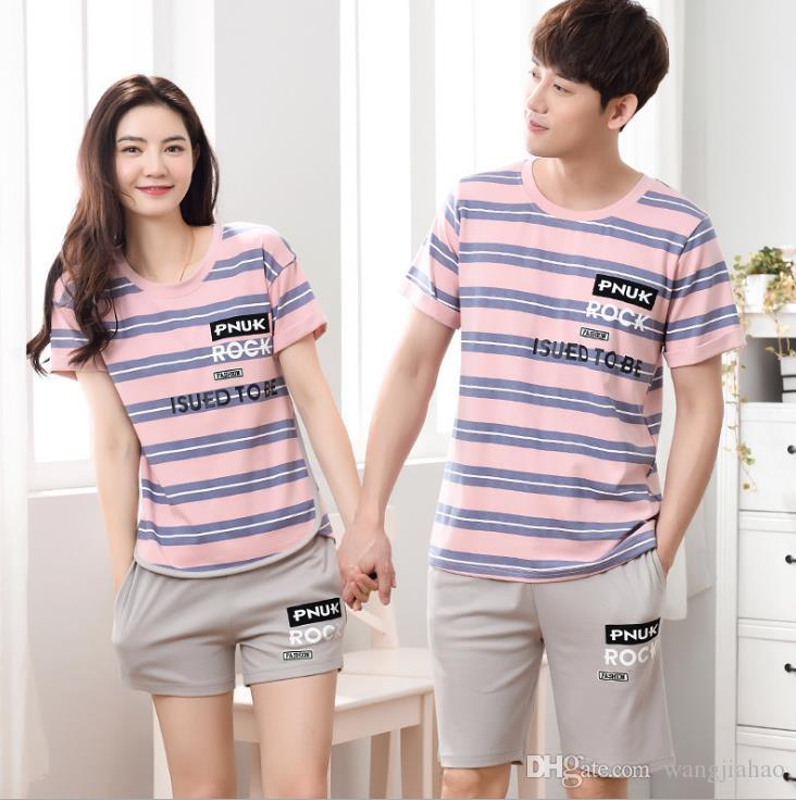 2019 2018 Short Sleeve Lovers Sleepwear Set Summer New Cotton Lovers Pajamas  Short Sleeved Shorts Casual Comfort Men And Women Home Service Suit From ... 40cb2e8ce