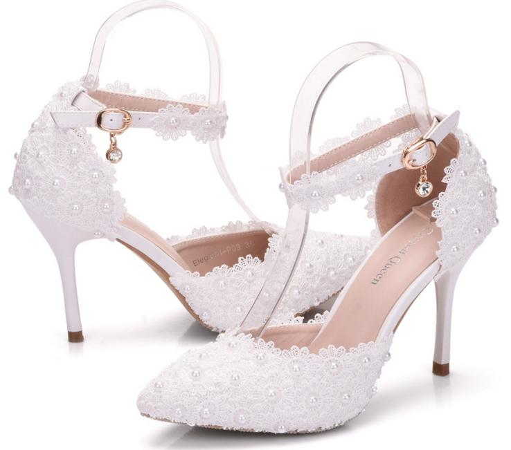 f2a3267b1183 Women White Rhinestone LaceTassels Bead Bridal Shoes High Heel Women ...