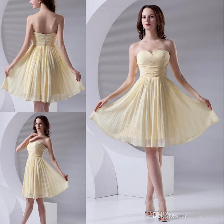 637a96f52e49 Simple Country Style Short Chiffon Junior Bridesmaid Dresses Yellow  Sweetheart Neckline Pleats Maid Of Honor Gowns For Wedding Party ZPT408  Short Bridal ...