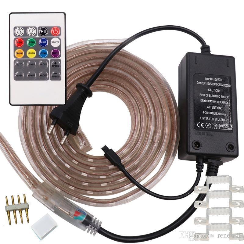 IP65 10m-100m de alto voltaje SMD 5050 RGB frío blanco 110V / 220V Led tiras de luces a prueba de agua + IR control remoto + fuente de alimentación