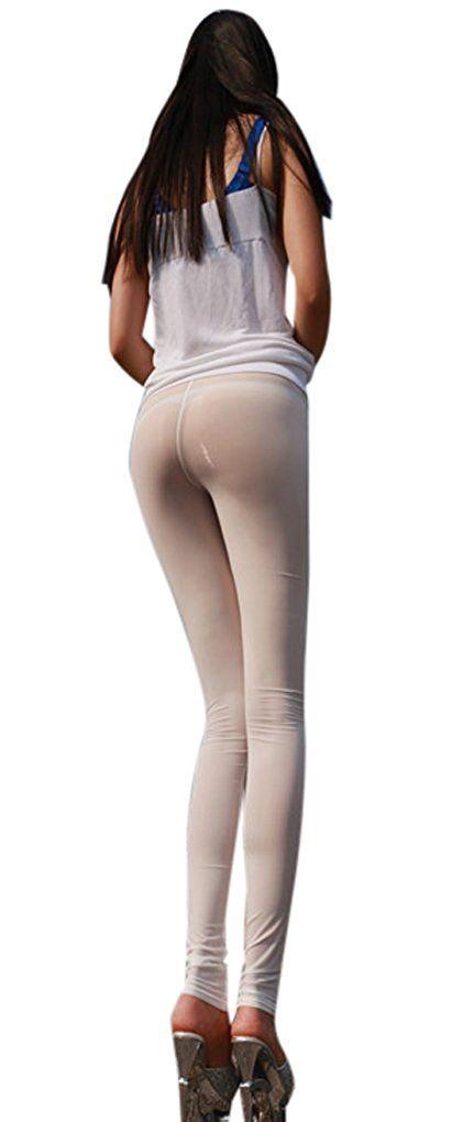 Frauen sexy durchsichtig enge Hosen Nylon Legging