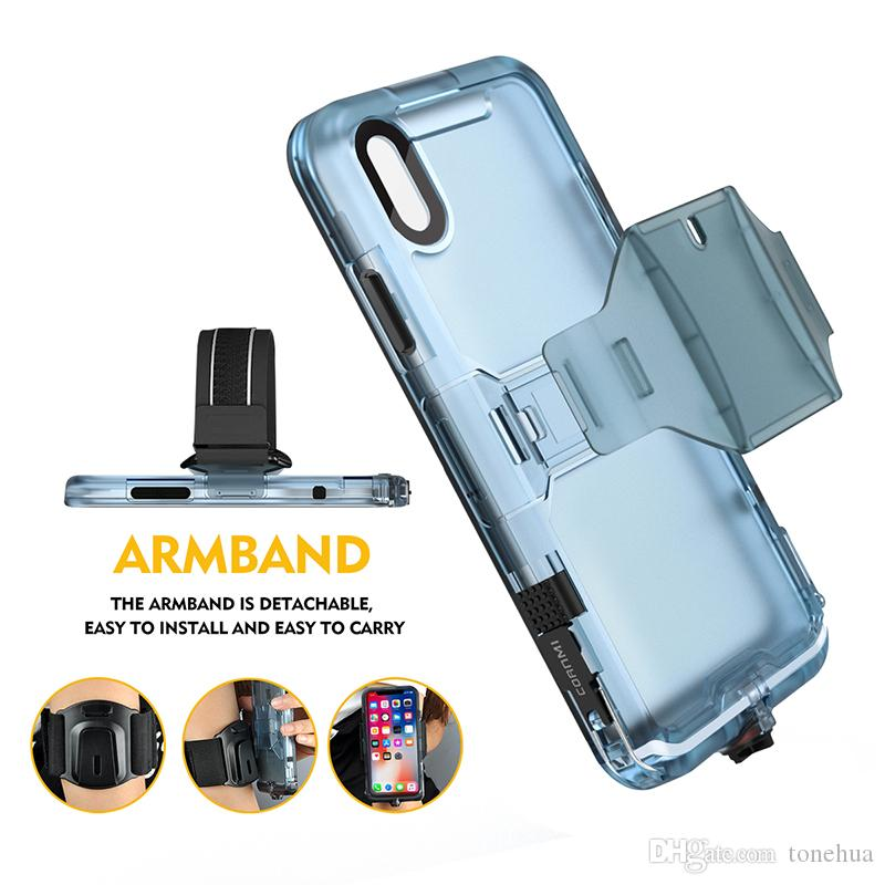 For iPhone X Waterproof Phone Cases IP68 With Armband Kickstand Phone Holder Anti-Dust Design PC TPU Phone Cover For iPhone