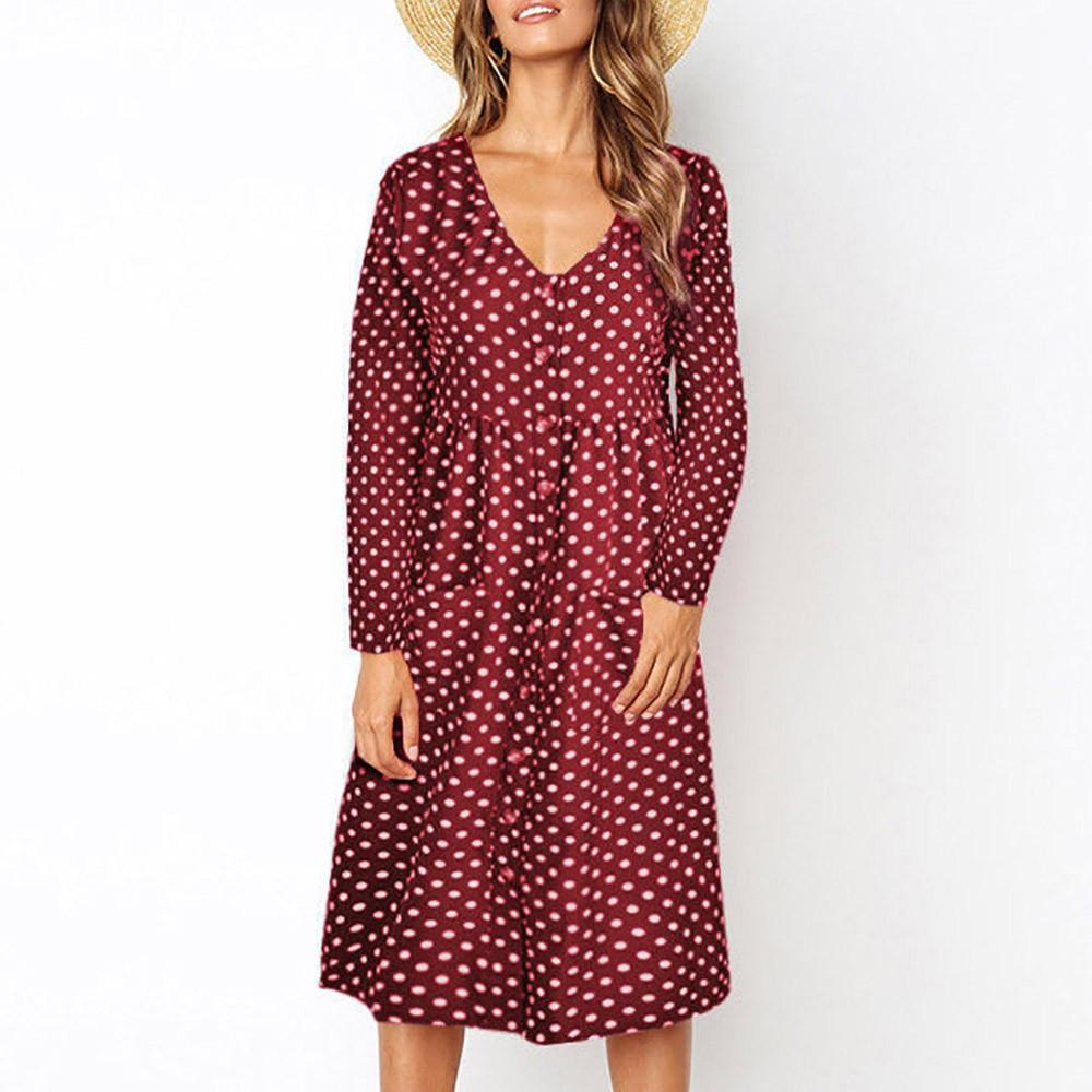 27ca29a92d Women Polka Dot Printed Dress Buttons V Neck Casual Midi Dresses Auutmn Long  Sleeve Vintage Dress  BF Dresses For Parties Elegant Cocktail Dresses From  ...