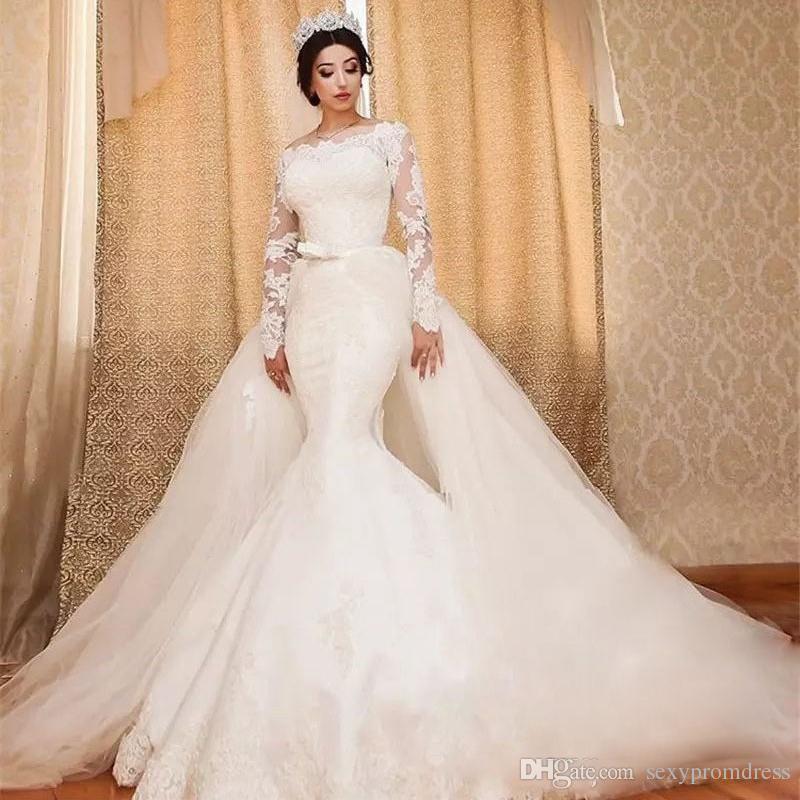 e21c78d2d Compre Precioso Vestido De Boda Del Tren Desmontable Encaje Mangas Largas  Vestidos De Novia De La Sirena Fuera Hombro Dubai Vestido De Novia Por  Encargo ...