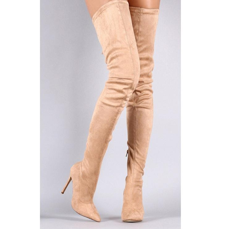 7b2a221f372 2018 Newest Faux Suede Elastic Woman S Long BootsSpring Autumn Over The Knee  Pointed Toe Thin High Heel Zip Female Boots Pink Hiking Boots Shoes For  Women ...